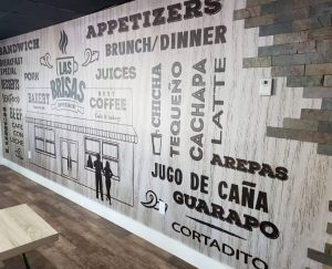 custom attractive wall graphics in a restaurant